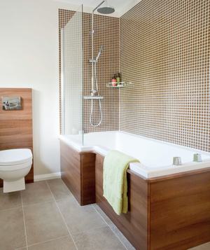 Bathroom With Wood Accents And Shower With Brown Mosaic Tiles