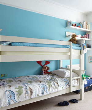 White bunk bed with bright aqua blue wall