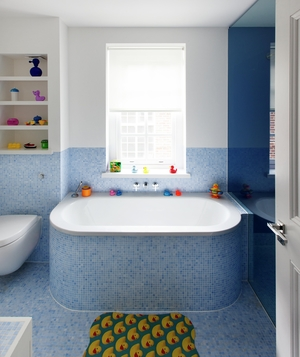 Kids Bathroom With Blue Mosaic Tiles