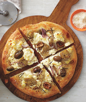 White Pizza With Artichokes, Rosemary, and Olives