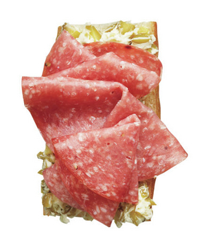 Salami and Cornichon Butter Open-Face Sandwich