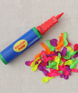 Pile of mini-balloons and Balloon Pump
