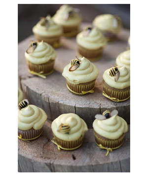 Cupcakes with bumblebee sugar cubes