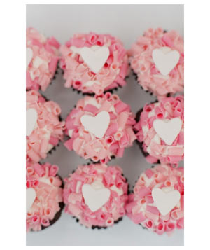 Pink heart cupcakes