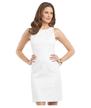 Chaps Crochet Piqué Sheath Dress