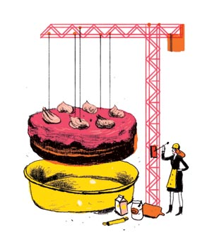 Illustration of a woman lifting a cake out of a pan with a crane