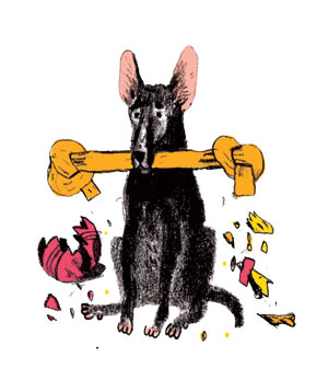 Illustration of a dog with chew toys