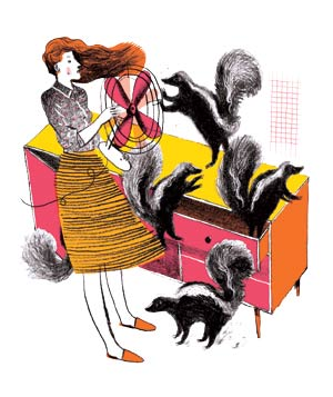 Illustration of skunks in and around a dresser. Woman is blowing them with a fan.