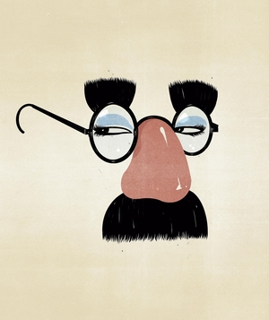Illustration of glasses with fake nose, eyebrows, and mustache