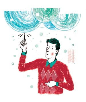 Illustration of man popping large bubbles