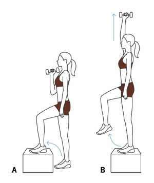 Illustration - Step-up with overhead press exercise