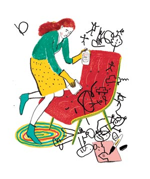 Illustration of woman cleaning marker stains off furniture