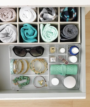 Organizational lucite grid inside dresser drawer
