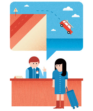 Illustration of woman at rental car counter