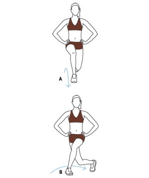 Illustration, Three-Way Lunge