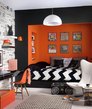 Orange, white and black studio apartment