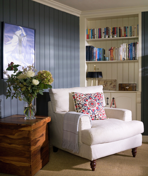 Living room with grey paneling