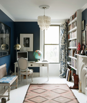 Good Navy Blue Walls In A Home Office