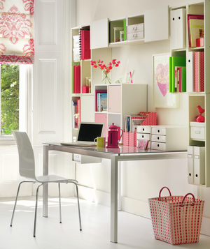 White home office with colorful accents