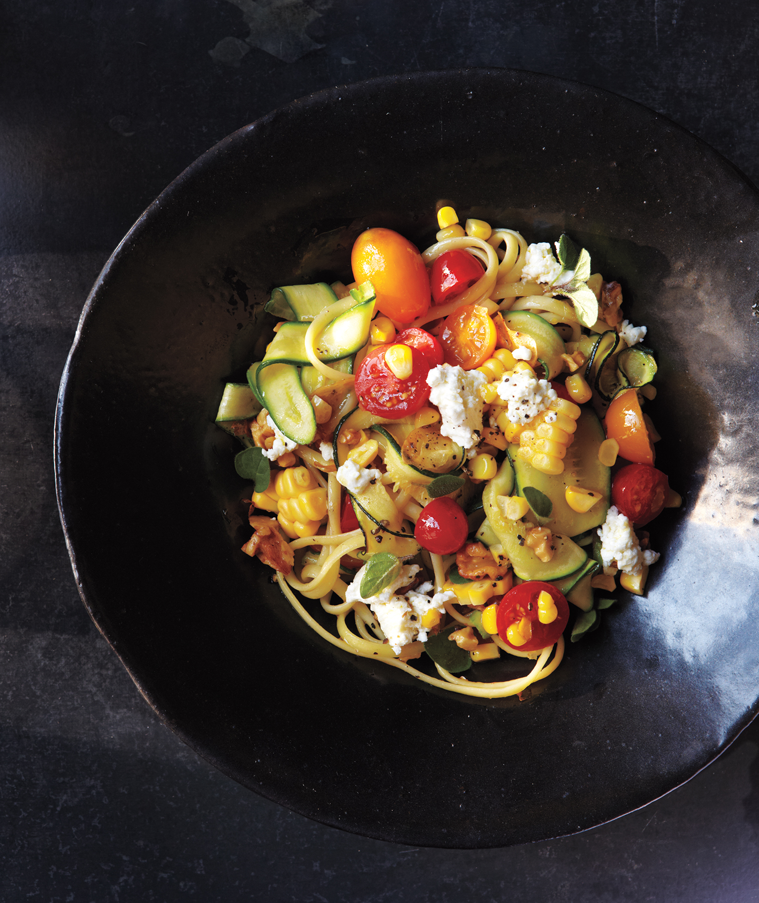 Linguine With Summer Vegetables and Goat Cheese