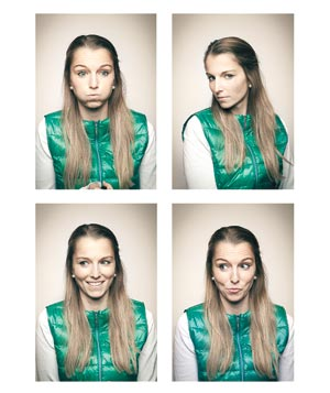 Set of four photos with woman in green vest making faces