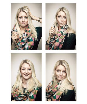 Set of four photos with blonde woman making faces