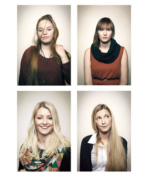 Four women posing for unflattering pictures - 1