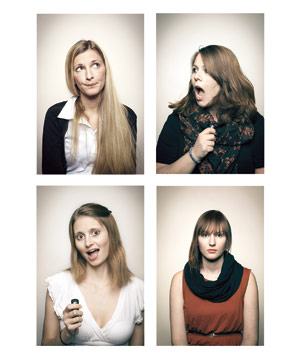 Four women posing for unflattering pictures - 2