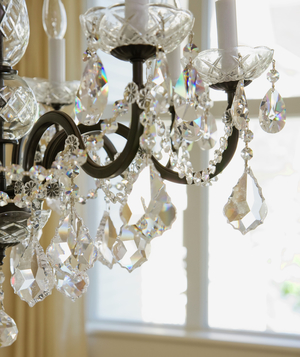 Crystal chandelier in front of window