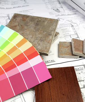 Paint swatches, stone and wood samples with architectural plans