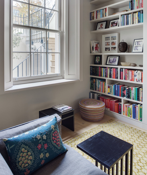 Cozy room with built in bookshelves