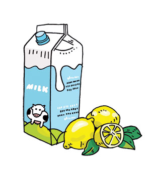 Illustration: Milk carton and lemons