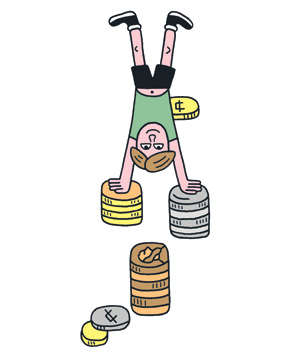 Illustration: child doing handstand on coins