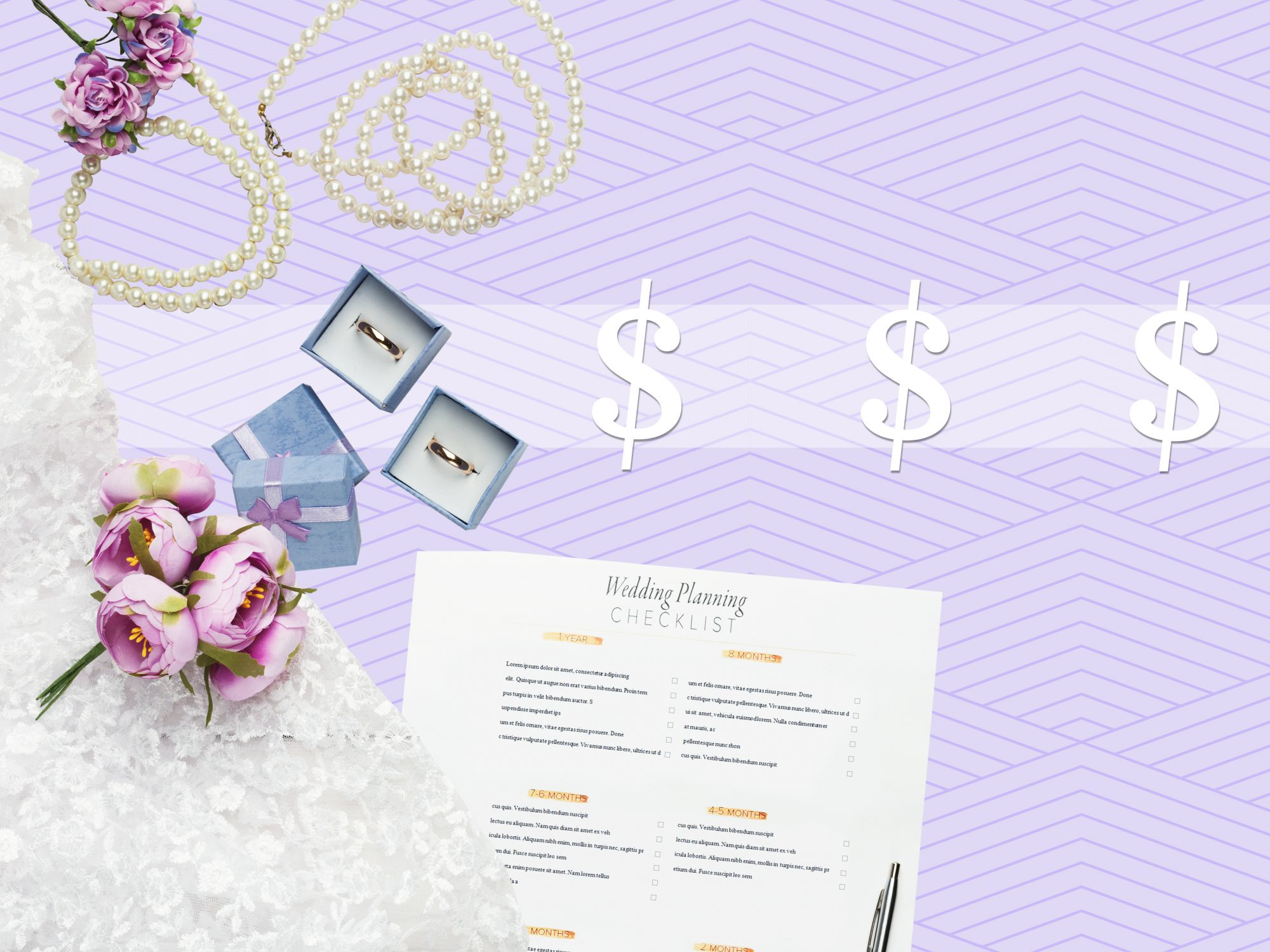 How to save money on a wedding: wedding details on a purple background