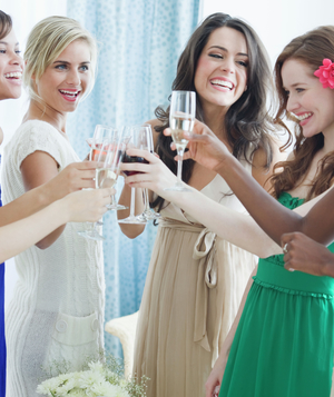 Group of women making a toast