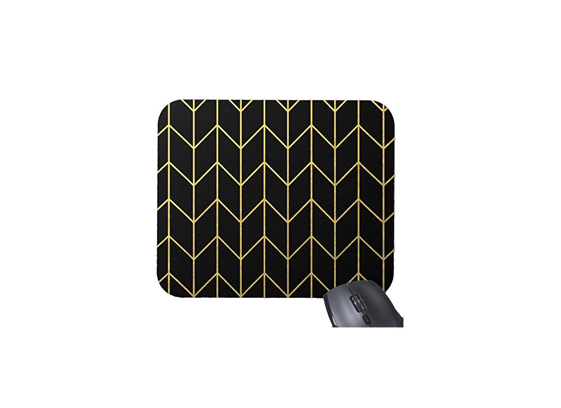 Black and Gold Geometric Mousepad