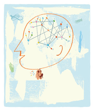 Illustration: person drawing brain diagram