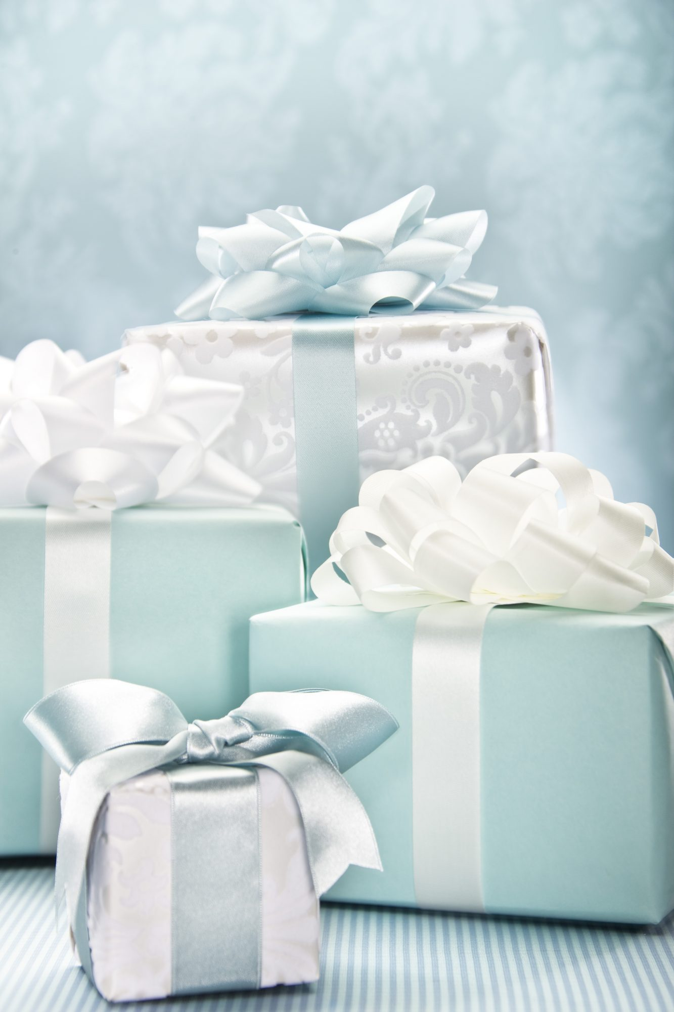 Wrapped blue and white wedding gifts