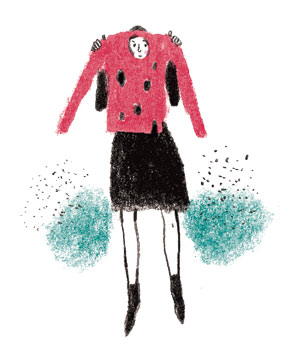 Illustration: woman holding up sweater with holes