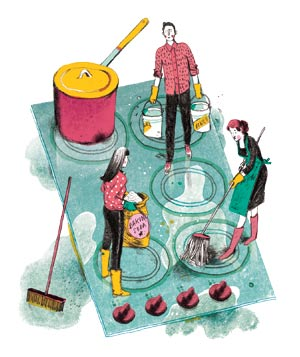 Illustration: tiny people cleaning a stovetop