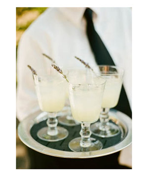 Glasses of lavender lemonade on tray