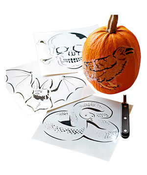 Pumpkin Carving Tattoos, Set of 4