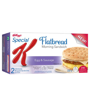 Kellogg's Special K Sausage, Egg, and Cheese Flatbread Breakfast Sandwich