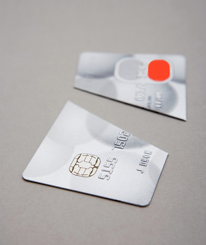 Credit card cut in half
