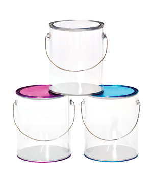 Large clear paint cans