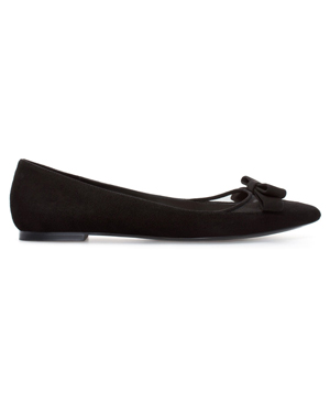 Zara Suede Ballerina Flats With Bow