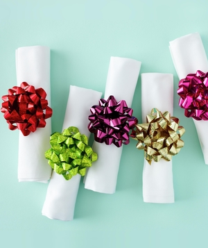 Holiday napkin rings with bows