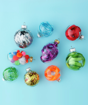 Collection of filled plastic Christmas ornaments