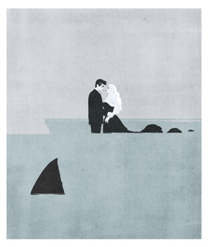 Illustration: Man and mermaid with shark fin