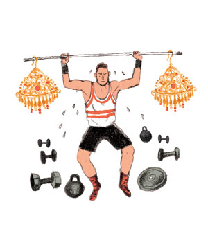 Illustration: man lifting earring weights